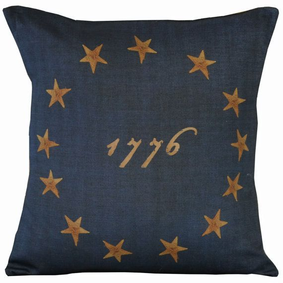 Vintage American Flag Colonial Stars Document Burlap Cotton Throw Pillow Cover on Etsy, $35.00