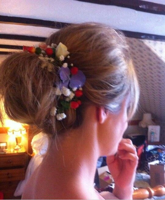 Wedding Hair with Fresh Flowers
