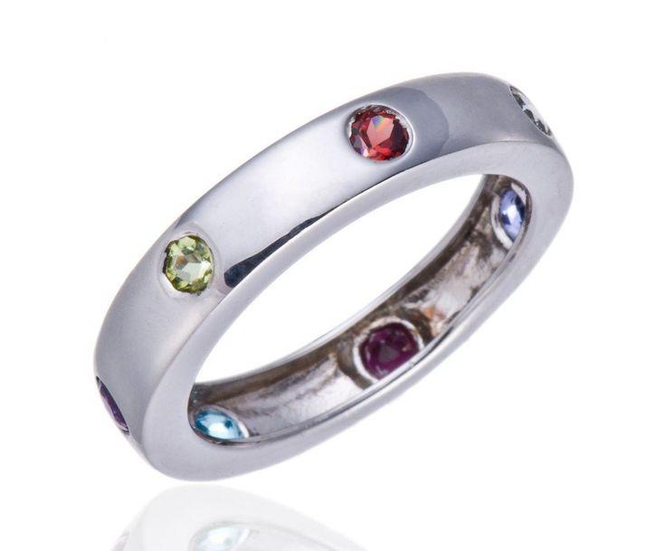 100% Natural Multi-color Gemstones  Solid 925 Sterling Silver