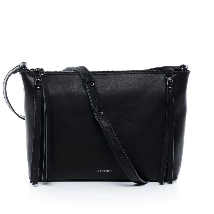 FEYNSINN Clutch mit Schultergurt JEMMA ZIP - Leder Unterarmtasche schwarz Taschen Damen Abendtaschen