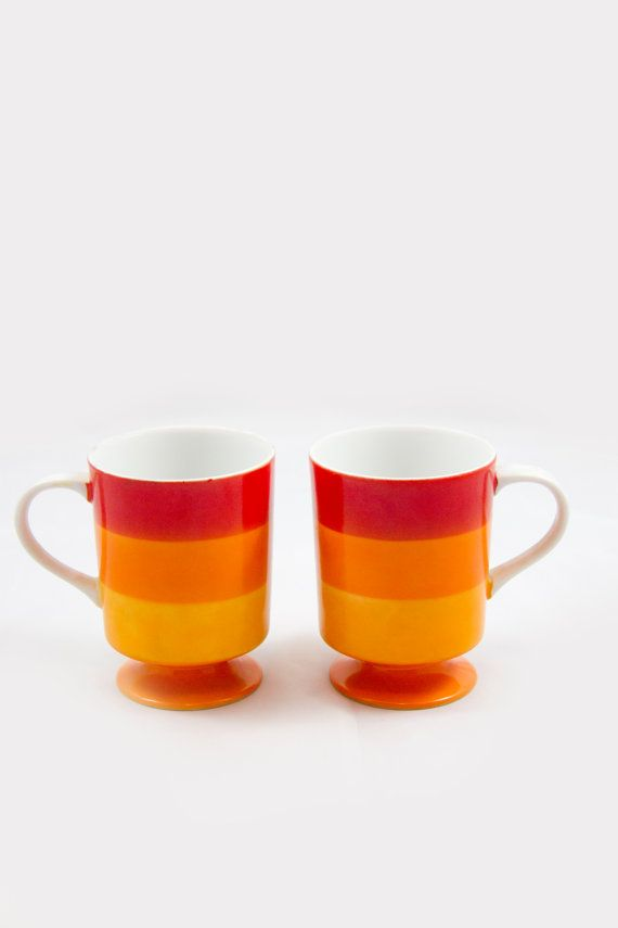 Ombre red orange mugs Mid Century coffee cups Made in by Bixipix