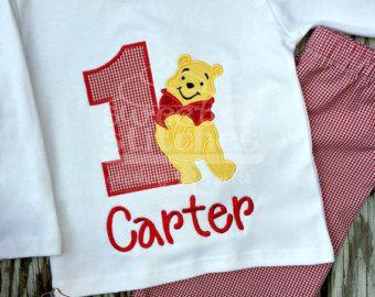 Winnie The Pooh Birthday Shirt Applique by 3LittleSassyPants
