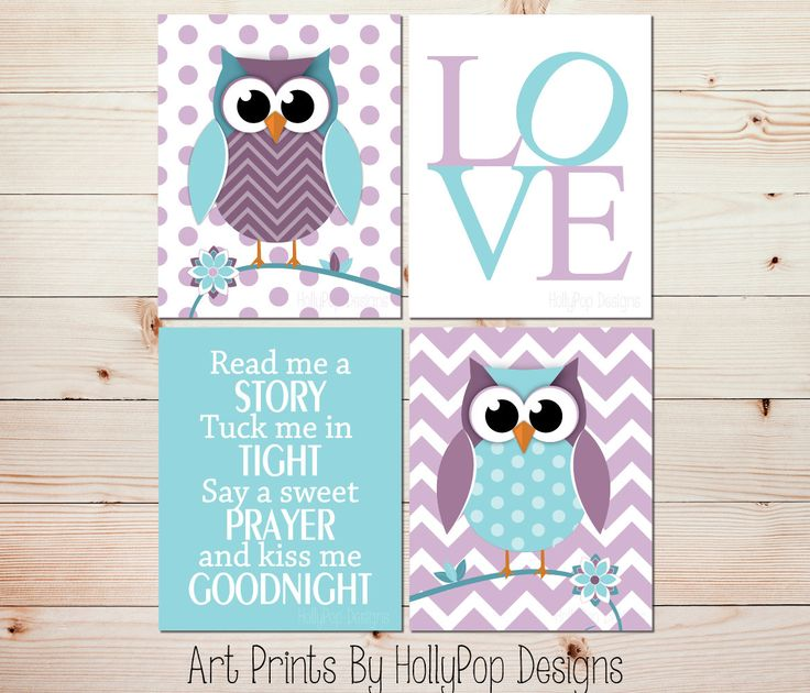 Purple Teal Nursery Decor-Owl Nursery Art Prints-Read Me A Story Tuck Me in Tight-Nursery Quad Print Set-Cute Woodland Owls-LOVE typography by HollyPopDesigns on Etsy