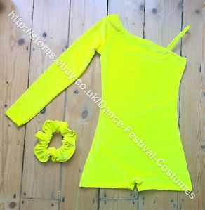 Bright yellow , latest colour in this popular style, available now from my Dance Festival Costumes e bay store