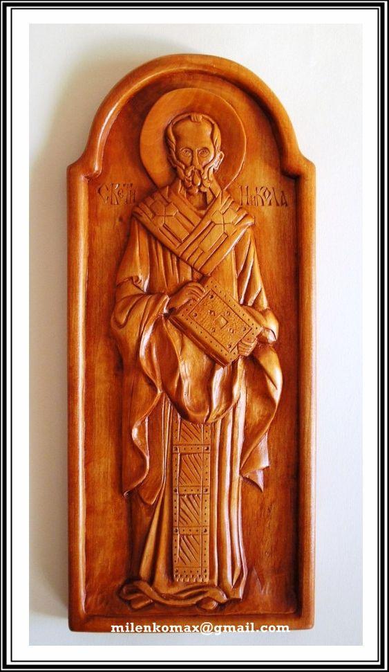 Ikona u duborezu-Sveti Nikola-Wood carving icon