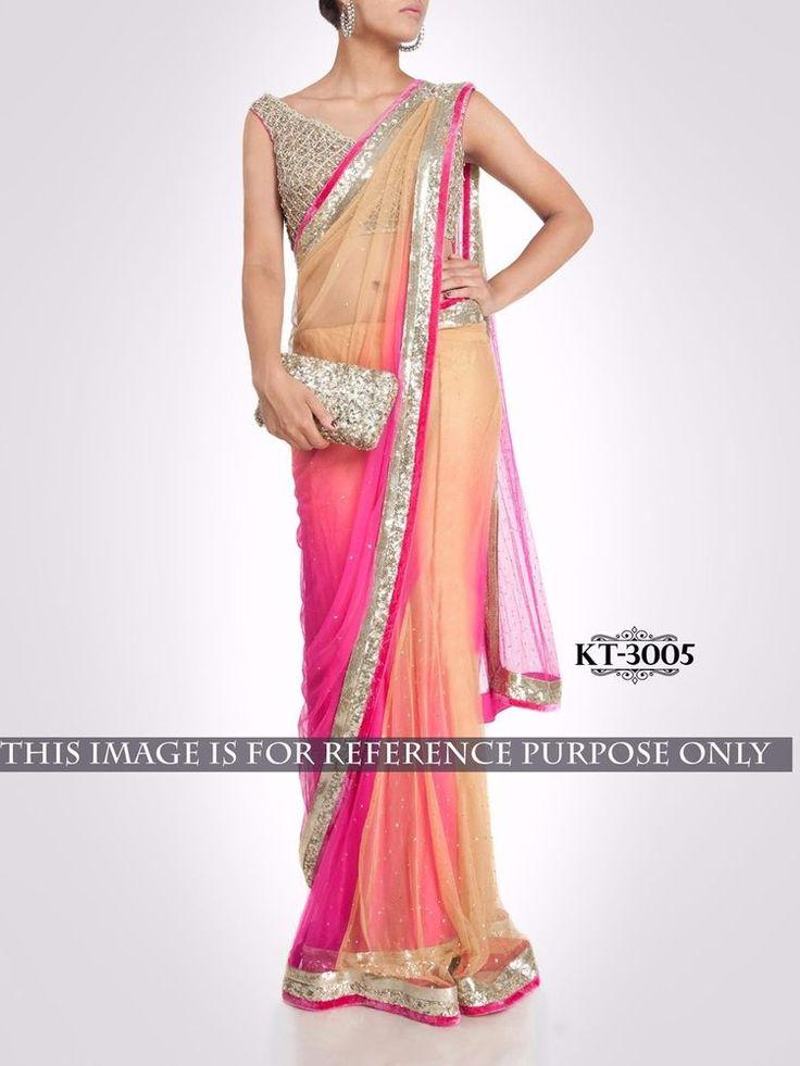 Designer Wear Nylon Net Stylish Peach Saree