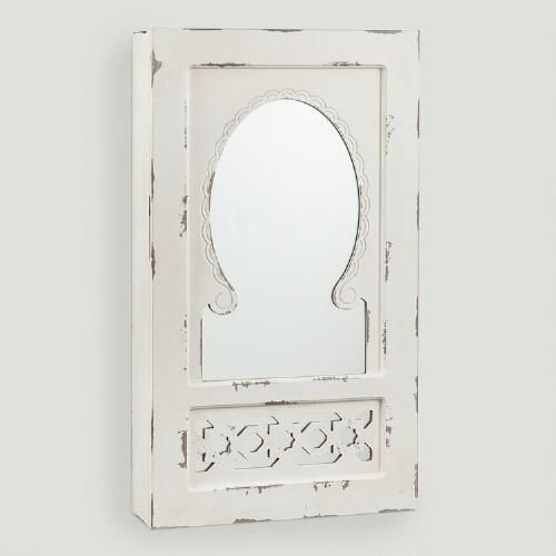 One of my favorite discoveries at WorldMarket.com: Antique White Nali Wall Jewelry Armoire with Mirror