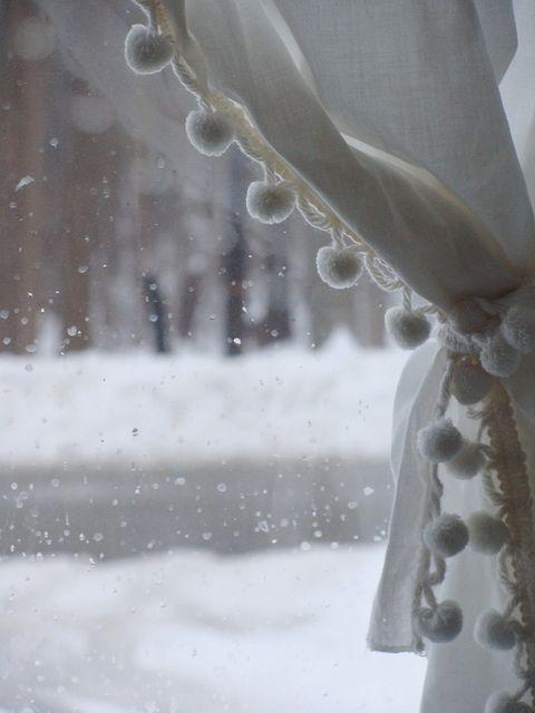 Snow Pom Pom Curtains