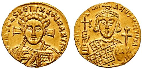 Jesus depicted on an early 8th-century Byzantine coin. After the Byzantine iconoclasm all coins had Christ on them.
