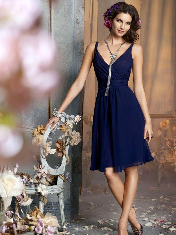 indigo color chiffon v neck and back bridesmaid dress with knee length skirt
