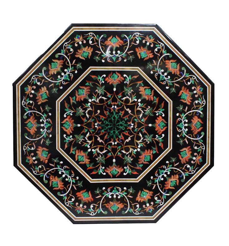 3.5' Marble Dining Table Top Multi Inlay Pietra Dura Floral Art Handmade Decor #AgraHeritageMarbleCrafts #ArtsCraftsMissionStyle #Marble #Inlay #Table #Black #WeddingDecor #HomeDecor #FestivalDecor #Pietra #Stones #Antique #TableDecor #ElegantTableDecor