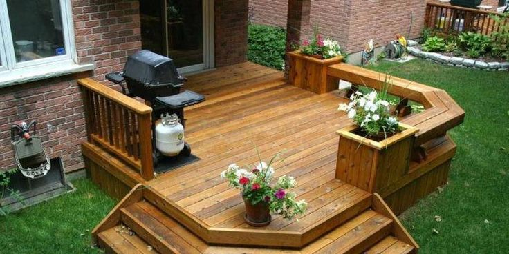 Built In Seating Deck Bench With Double Planters Built