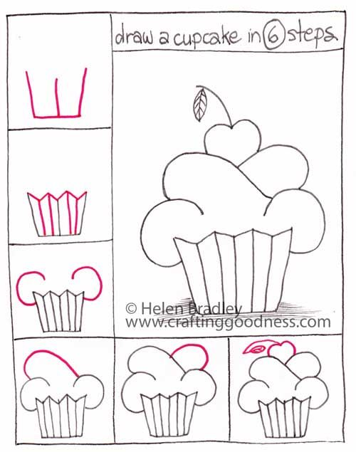 Easy Drawings Step By Step | Step by step - how to draw a cupcake | Crafting Goodness