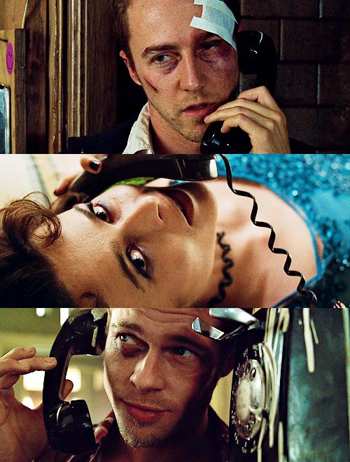 "David Fincher's Fight Club (1999)  A badass movie with a perfect cast...Brad Pitt, Edward Norton, and Helena Bonham Carter. ""Its only after we've lost everything that we are free to do anything"". <3"