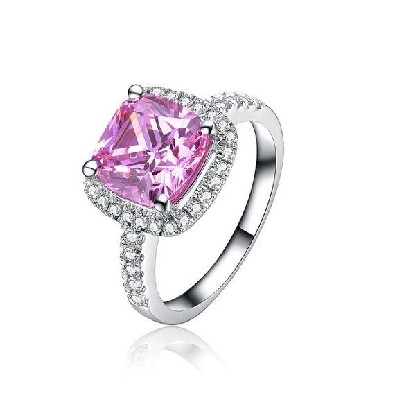 Check out this item in my Etsy shop https://www.etsy.com/au/listing/276312002/sterling-silver-3ct-cushion-cut-pink
