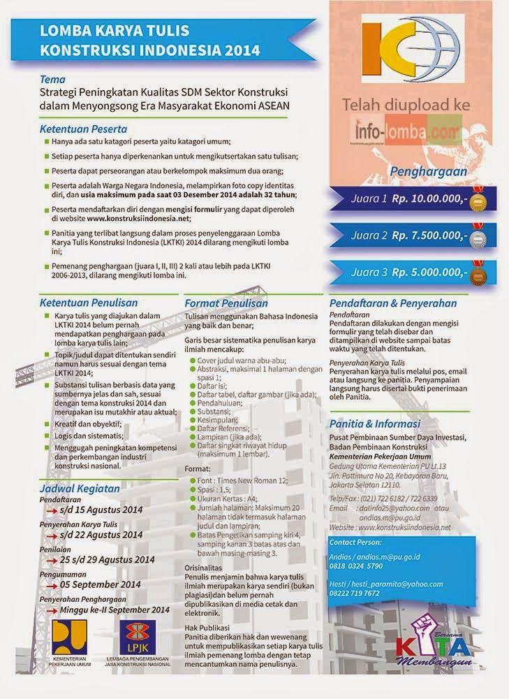 INFO LOMBA | Lomba 2014 | Update Setiap Hari: Lomba Karya Tulis Konstruksi Indonesia (LKTKI) 201...