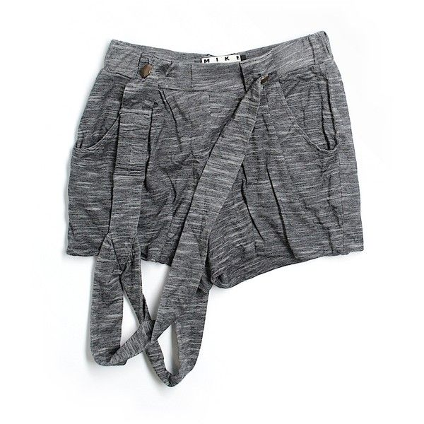 Pre-owned Mike Gonzalez Overall Shorts Size 8: Gray Women's Bottoms ($35) ❤ liked on Polyvore featuring grey, mike gonzalez and short overalls