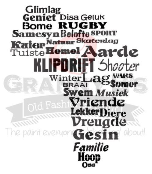 Afrika (Afrikaans) Stencil – Granny B's Old Fashioned Paint