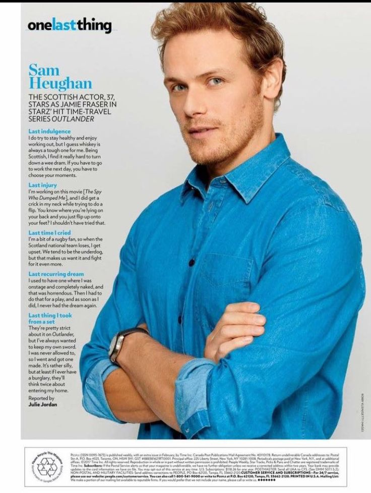 Sam Heughan graces the back page of People Magazine this week, with a nice photo and a brief interview. Thanks Outlander Headquarters for the photo!
