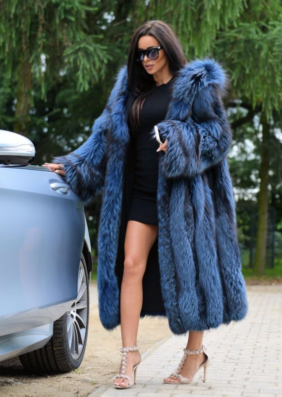 Royal Argent Longues FOX manteau fourrure capuche classe de Chinchilla Sable MINK veste trench