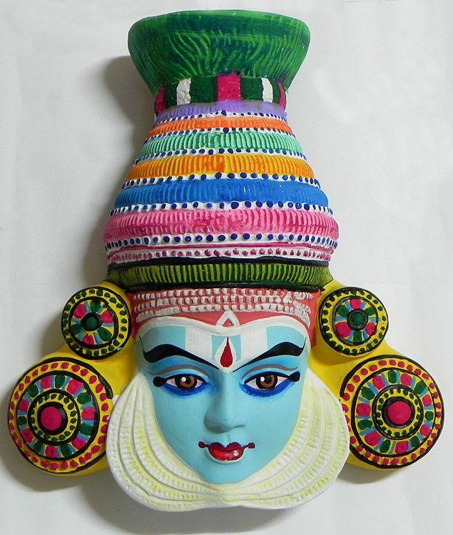 Krishna Mask from Mahabharata in Kathakali Style - Wall Hanging (Papier Mache))
