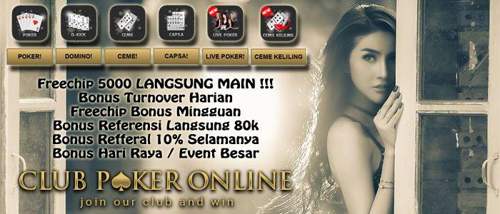 """http://clubpokeronlineindonesia99.blogspot.com/2017/01/promo-bonus-club-poker-online-indonesia.html  Anda ingin main di situs agen judi online yang banyak promo bonusnya? Daftar di Clubpokeronline.info & dapatkan """" Promo Bonus Club Poker Online Indonesia """".  Promo Bonus Club Poker Online Indonesia, promo bonus freechip poker online, situs agen judi poker online, agen taruhan online dengan bonus terbanyak, poker bonus mingguan, poker qq bonus uang tunai, poker online uang asli bonus freechip…"""