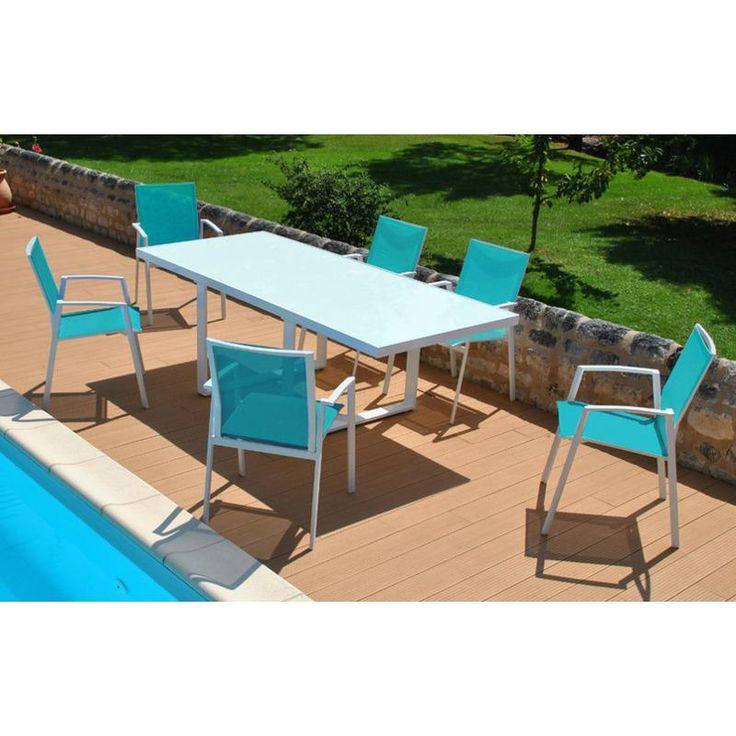 Salon de jardin CYCLADES 6 places en aluminium blanc et textilène couleur turquoise - Proloisirs, Salon de jardin aluminium