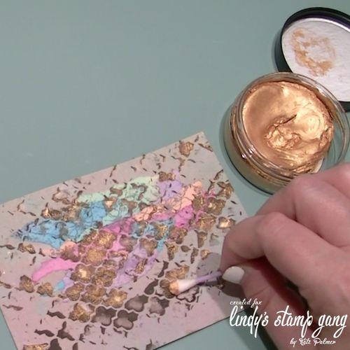 Color Shot Sprays on Kraft Card, light modeling paste, Stencil,  color shot powder, Inka gold