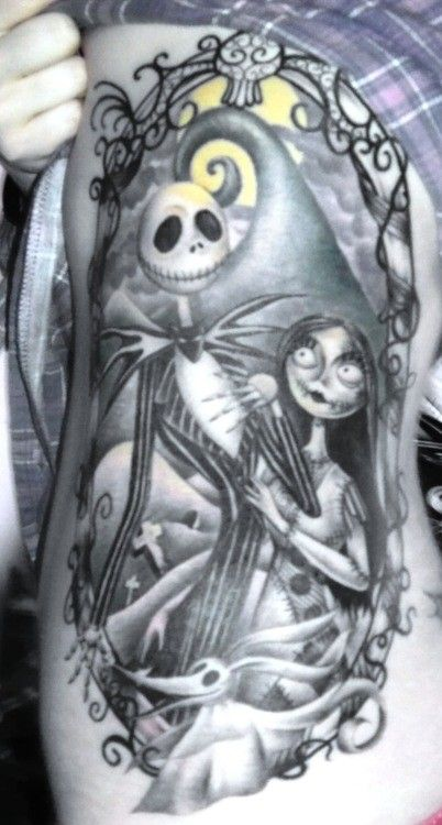 Nightmare Before Christmas Tattoo - Jack Skellington, Sally, and Zero