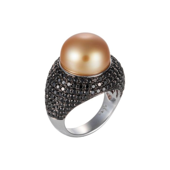 gold south sea pearl u0026 black diamond ring with white gold by cris figueired