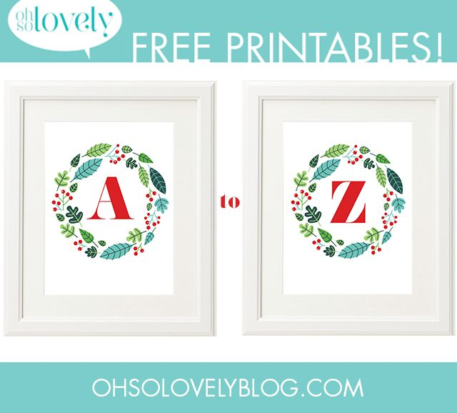 oh so lovely blog free printable a-z christmas holiday wreath art