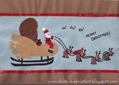 Handprint and Footprint Arts & Crafts: Footprint Sleigh, Fingerprint Santa, and Thumbprint Reindeer Christmas Art