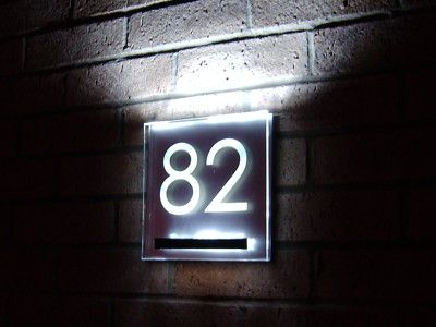 aurora led lit house number plaque house number. Black Bedroom Furniture Sets. Home Design Ideas