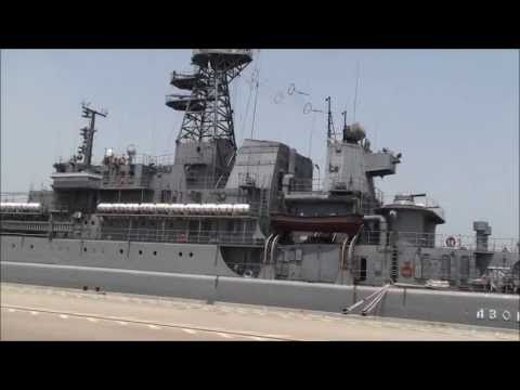 Russian Navy Amphibious Support Ship Azov enters the Israeli port of Haifa on the first visit of a Russian military warship in Israel, May 1, 2013. Photo via Novosti.