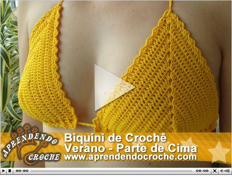 Biquíni de Crochê Verano - Parte de Cima. Nova vídeo aula! - Aprendendo Crochê