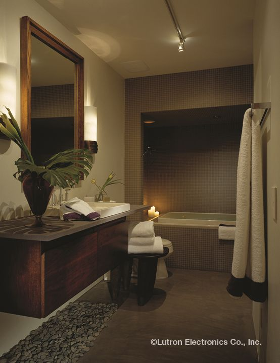 Turn A Bathroom Into Your Private Oasis. Lutron Dimmers Set The Perfect  Atmosphere For Deep Relaxation. Bathroom Lighting ...