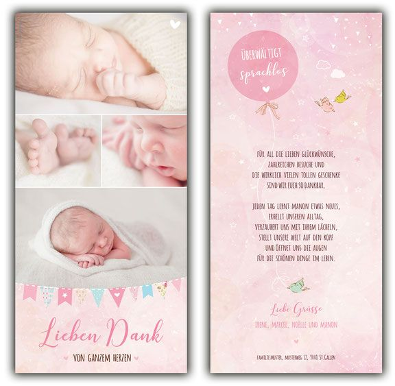 Dankeskarte Manon Danksagung Geburt Baby Dankeskarten Dankeskarte Geburt