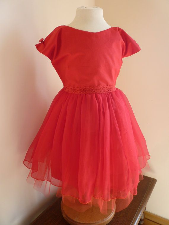 Ruby Red Silk and Cotton Bridesmaids Dress  Girls by AnnaandAlex, £150.00