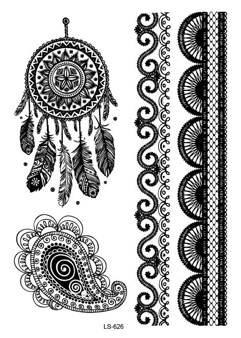 Temporary tattoos Waterproof tattoo stickers body art Painting for party event  black lace sexy dreamcather mysterious Wh