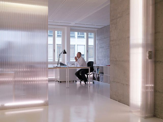 Media Axis, Schlieren, Switzerland by Gus Wustemann Architects [beautiful framing and lighting detail for polycarbonate walls)