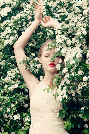 Wedding Ideas: white-flower-bush-red-lips
