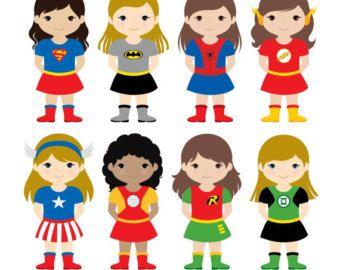 Girls Superhero Costumes Clipart 1, Girl Superheroes, Superheroes Clipart, Women Superheroes