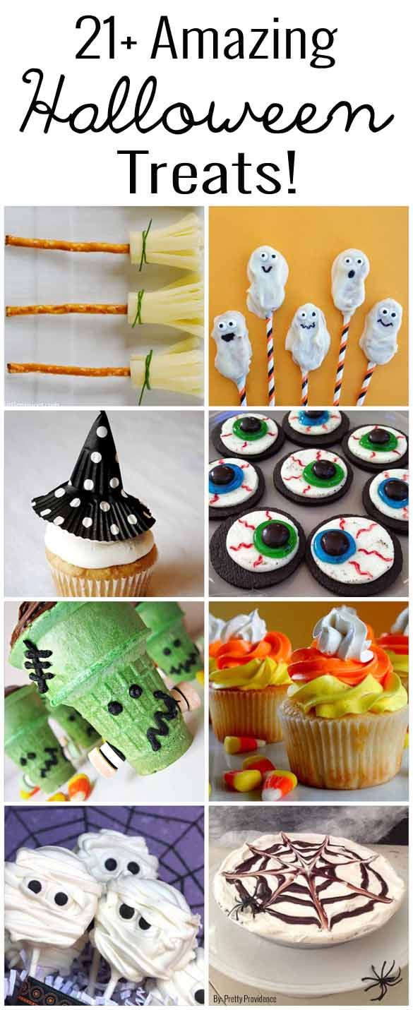 21+ Amazing Halloween Treat Ideas! These are all so fun, cute, creative, and easy! Will be a crowd pleaser at any get together.