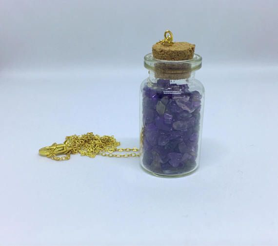 Amethyst Necklace Real Amethyst Stone Gold Amethyst