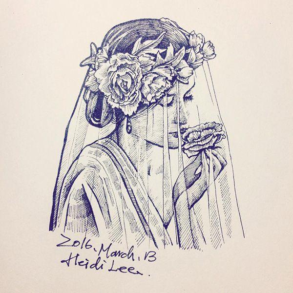 The bride. #illustration #flowers #bride #ink #art