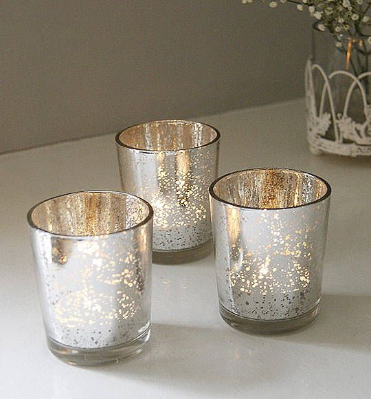 set of two silvered tea light holders by red lilly | notonthehighstreet.com