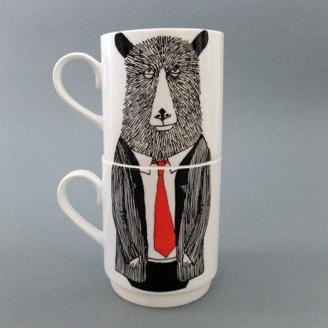 Mr Bear Stackable Tea Mugs - Trouva