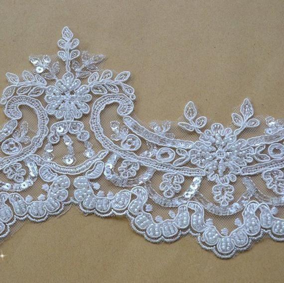 """Lace Trim Ivory European Style Wedding Fabric Bride Headwear 8.26/"""" width 1 yard"""