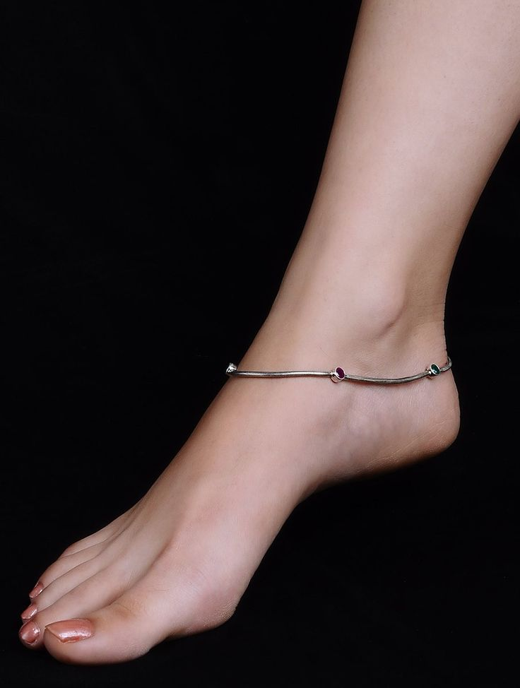 Buy Maroon Green Silver Anklet Set of 2 Semi Precious Stone Jewelry Enchanting Take 10% off this collection when you two or more together. Online at Jaypore.com