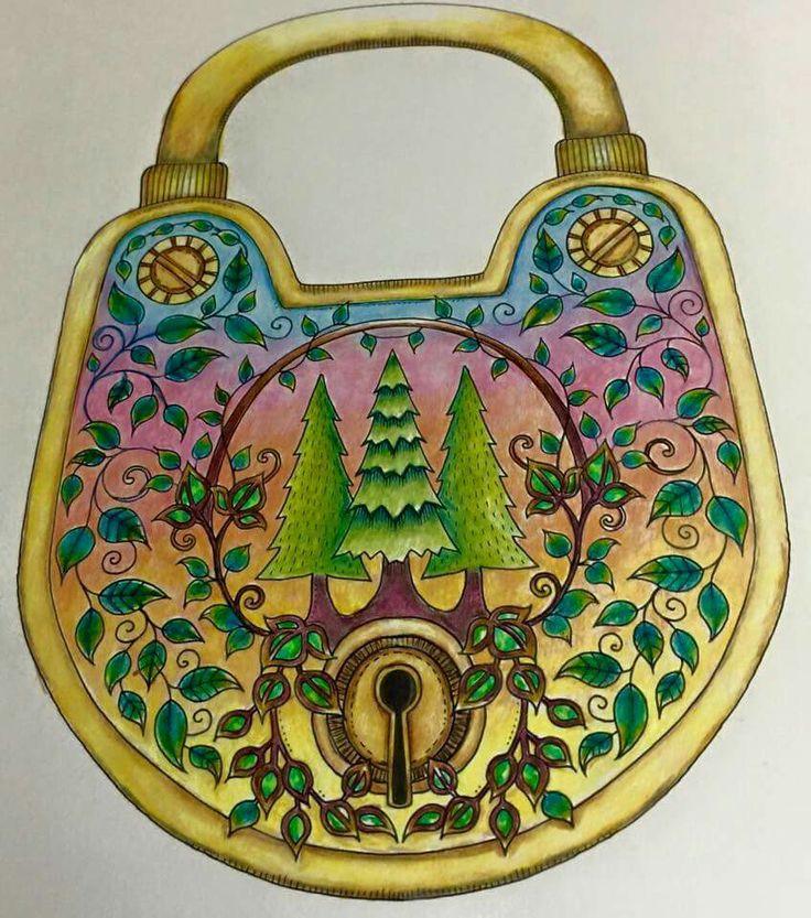 Padlock Enchanted Forest Johanna Basford Coloring BookAdult